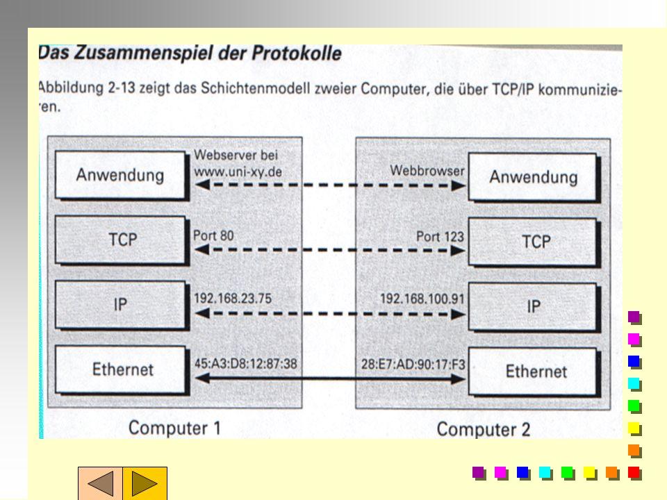 Die Anwendungsschicht: Auf Transportschicht =TCP setzt dann die sog. Anwendungsschicht der Software auf. Je nach eingesetztem Internet-Dienst wird die