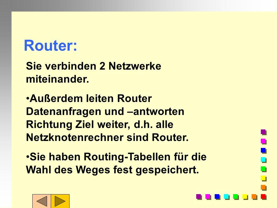 Router? Welche Funktionen übernimmt ein Router? Wiederholung 5: