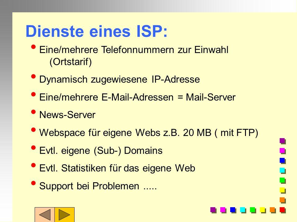 n Online-Dienst (z.B. T-Online, AOL oder Compuserve) ISP n ein lokaler Internet-Service- Provider. = ISP n Internet by Call Internetanbindung