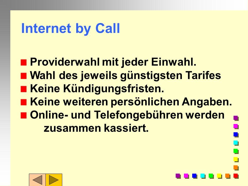 Dienste eines ISP: Eine/mehrere Telefonnummern zur Einwahl (Ortstarif) Dynamisch zugewiesene IP-Adresse Eine/mehrere E-Mail-Adressen = Mail-Server New