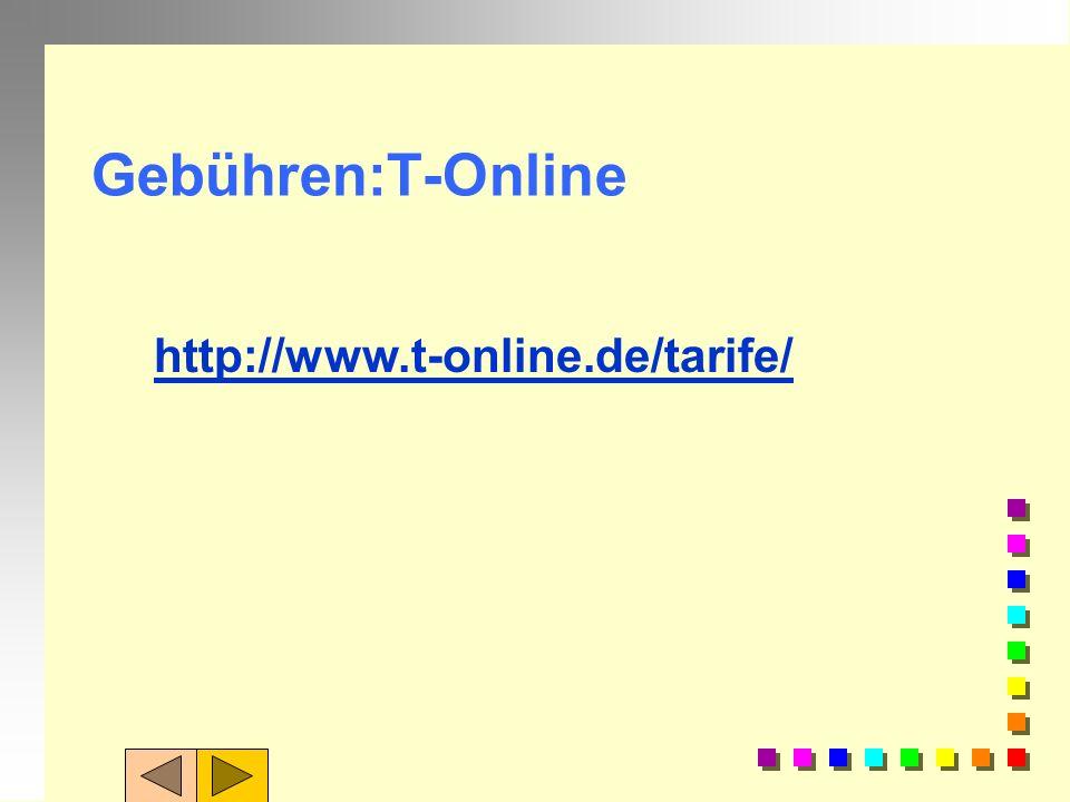 Aufgabe 5: 1. Ermitteln Sie die derzeitige Gebührenstruktur von Deutschlands größtem Provider T-Online.de 2. Ermitteln Sie die Gebühren beim Provider:
