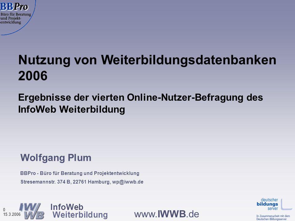 InfoWeb Weiterbildung 20 15.3.2006 www.IWWB.de Nutzungshäufigkeit von Weiterbildungsdatenbanken nach Datenbanktypen (in %, N=941) Bei Überregionalen mehr Erstnutzer Quelle: IWWB, Onlinebefragungen zur Nutzung von WBDBs 2002-2006