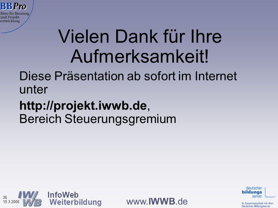 InfoWeb Weiterbildung 35 15.3.2006 www.IWWB.de Teilnahme an Weiterbildung aufgrund von Informationen aus Weiterbildungsdatenbanken nach Datenbanktypen