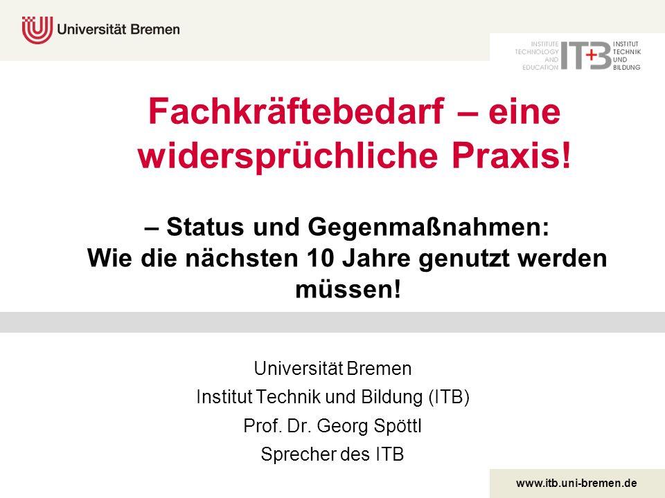 www.itb.uni-bremen.de Fachkräftebedarf – eine widersprüchliche Praxis! Universität Bremen Institut Technik und Bildung (ITB) Prof. Dr. Georg Spöttl Sp