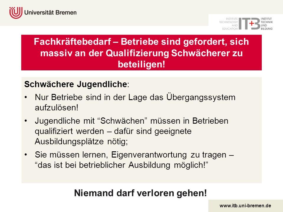 www.itb.uni-bremen.de Niemand darf verloren gehen! Fachkräftebedarf – Betriebe sind gefordert, sich massiv an der Qualifizierung Schwächerer zu beteil
