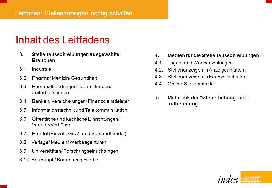 Leitfaden: Stellenanzeigen richtig schalten Inhalt des Leitfadens 4. Medien für die Stellenausschreibungen 4.1.Tages- und Wochenzeitungen 4.2. Stellen