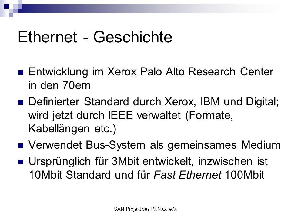 SAN-Projekt des P.I.N.G. e.V. Ethernet - Geschichte Entwicklung im Xerox Palo Alto Research Center in den 70ern Definierter Standard durch Xerox, IBM