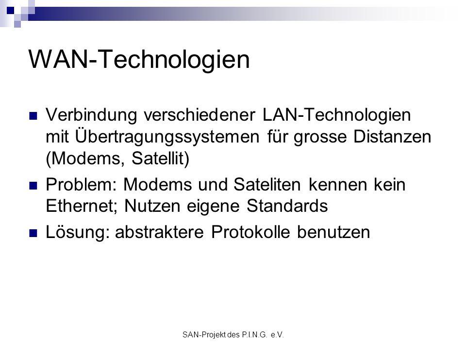 SAN-Projekt des P.I.N.G. e.V. WAN-Technologien Verbindung verschiedener LAN-Technologien mit Übertragungssystemen für grosse Distanzen (Modems, Satell