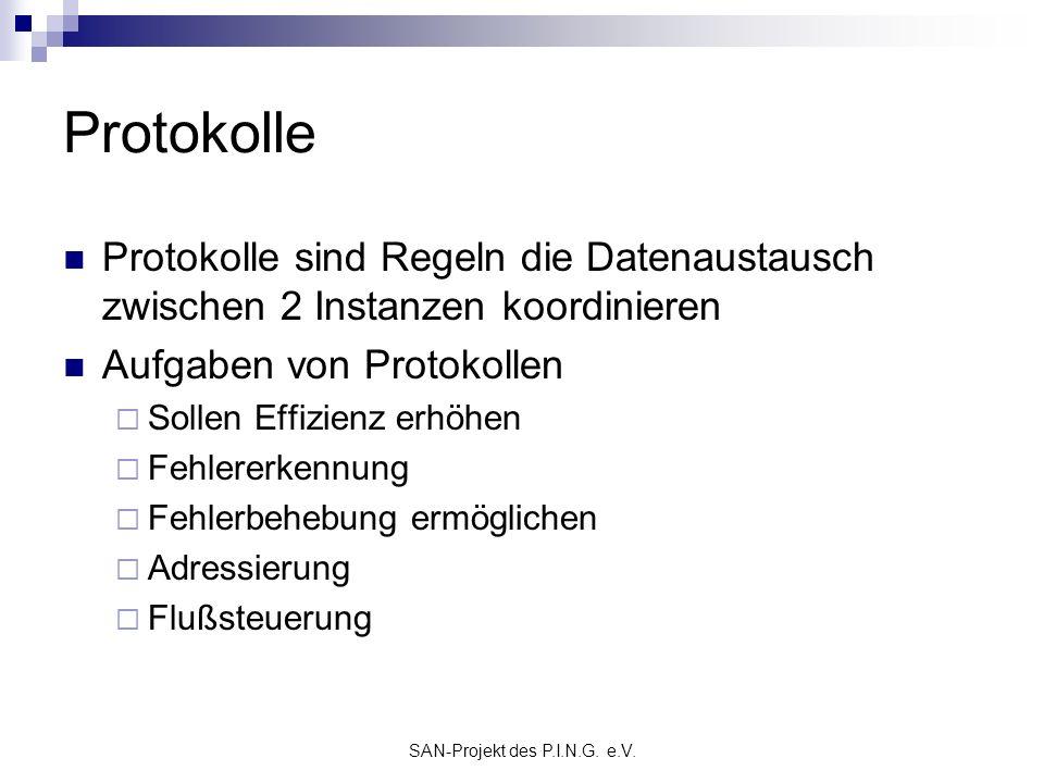SAN-Projekt des P.I.N.G. e.V. Protokolle Protokolle sind Regeln die Datenaustausch zwischen 2 Instanzen koordinieren Aufgaben von Protokollen Sollen E