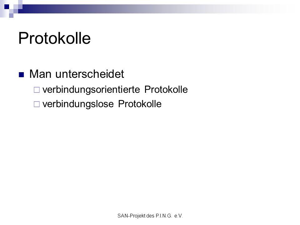 SAN-Projekt des P.I.N.G. e.V. Protokolle Man unterscheidet verbindungsorientierte Protokolle verbindungslose Protokolle