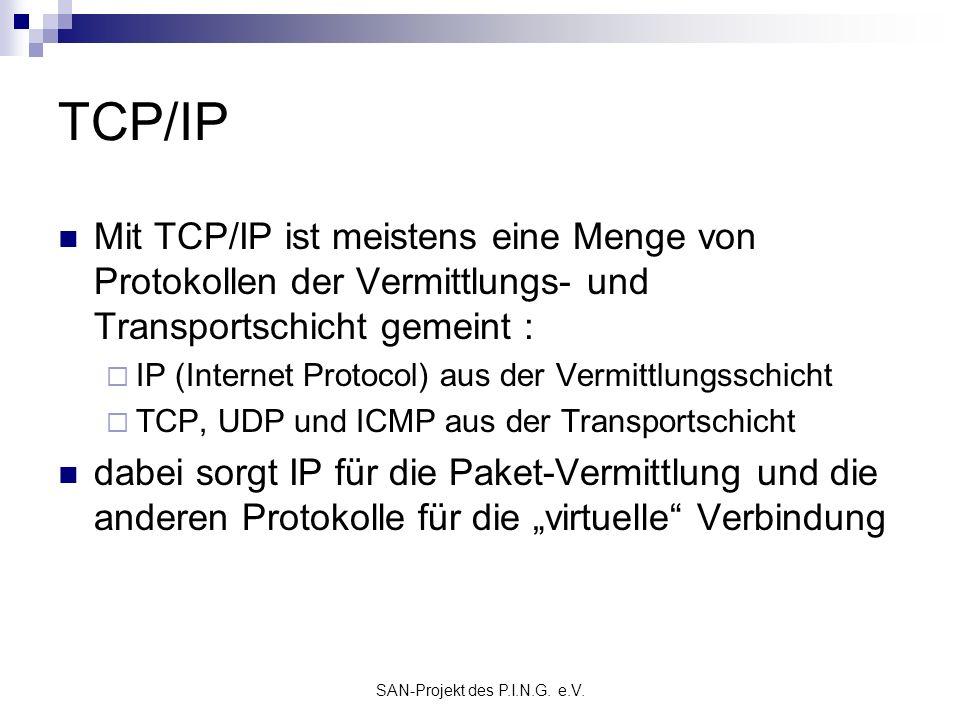 SAN-Projekt des P.I.N.G. e.V. TCP/IP Mit TCP/IP ist meistens eine Menge von Protokollen der Vermittlungs- und Transportschicht gemeint : IP (Internet