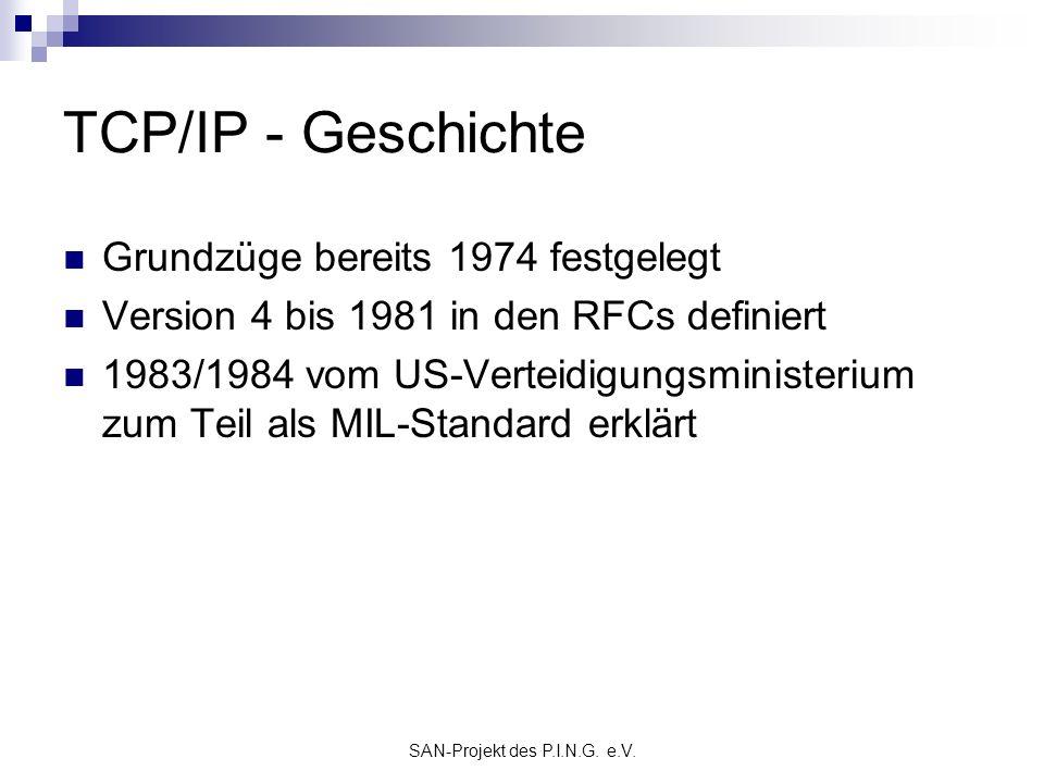 SAN-Projekt des P.I.N.G. e.V. TCP/IP - Geschichte Grundzüge bereits 1974 festgelegt Version 4 bis 1981 in den RFCs definiert 1983/1984 vom US-Verteidi