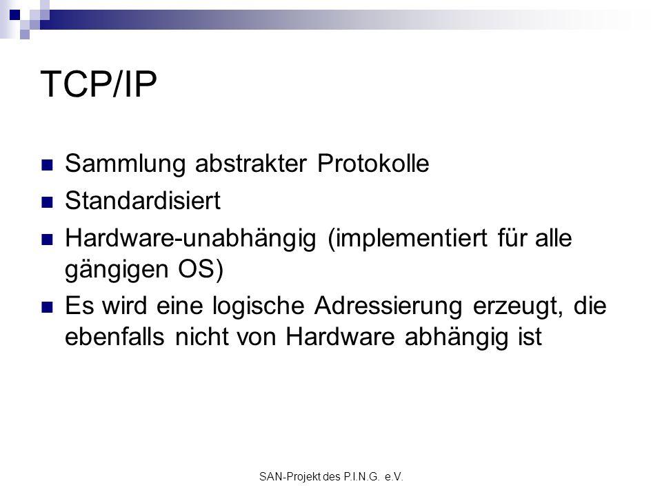 SAN-Projekt des P.I.N.G. e.V. TCP/IP Sammlung abstrakter Protokolle Standardisiert Hardware-unabhängig (implementiert für alle gängigen OS) Es wird ei