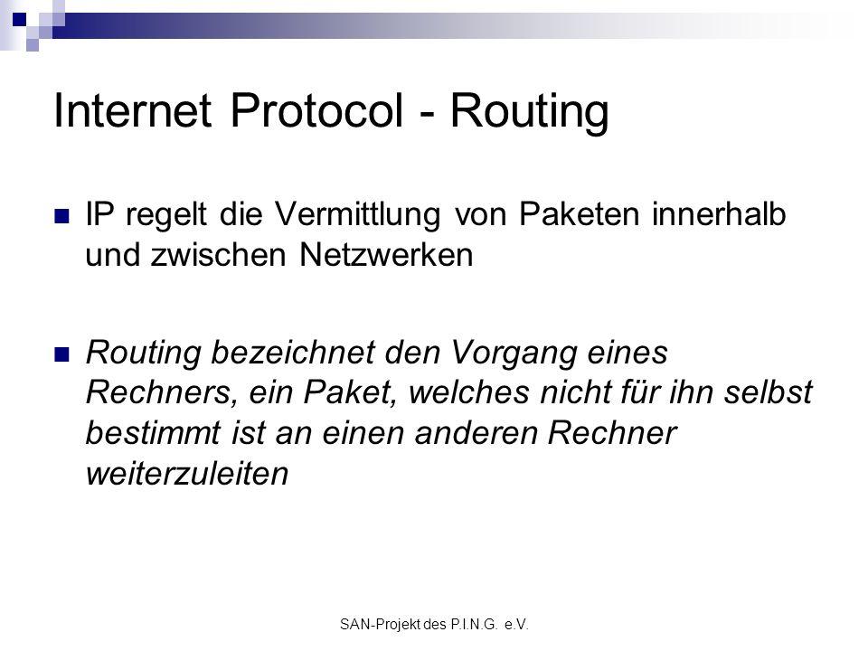 SAN-Projekt des P.I.N.G. e.V. Internet Protocol - Routing IP regelt die Vermittlung von Paketen innerhalb und zwischen Netzwerken Routing bezeichnet d