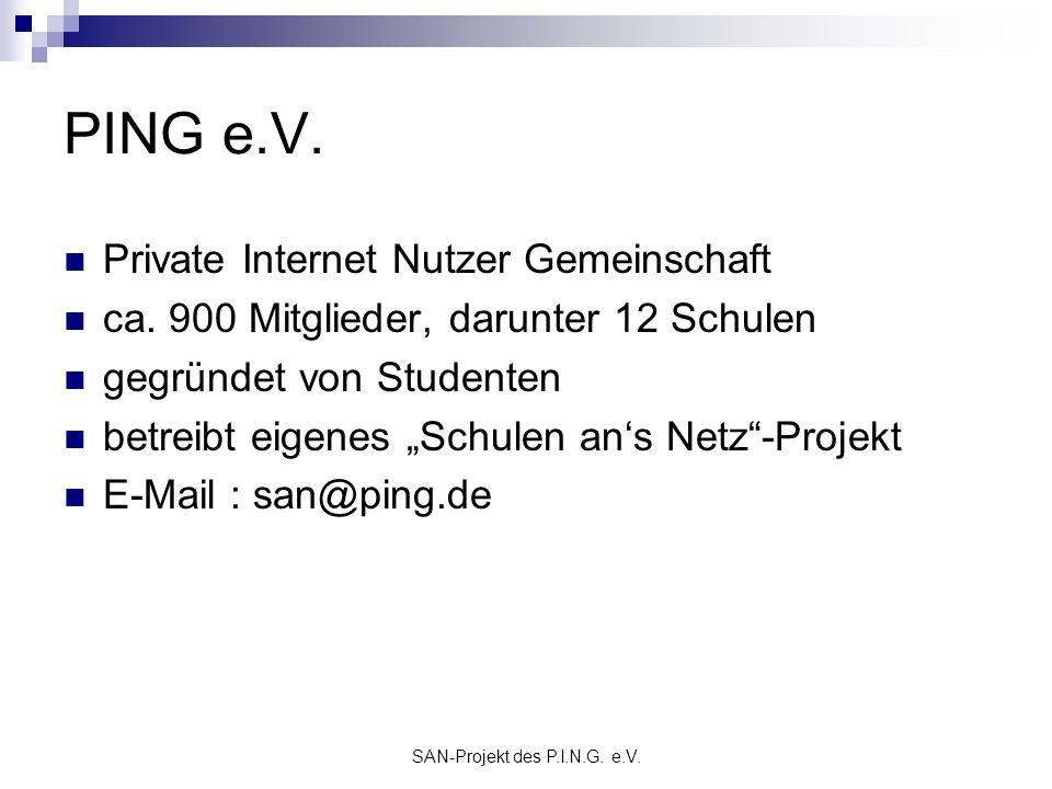 SAN-Projekt des P.I.N.G. e.V. PING e.V. Private Internet Nutzer Gemeinschaft ca. 900 Mitglieder, darunter 12 Schulen gegründet von Studenten betreibt