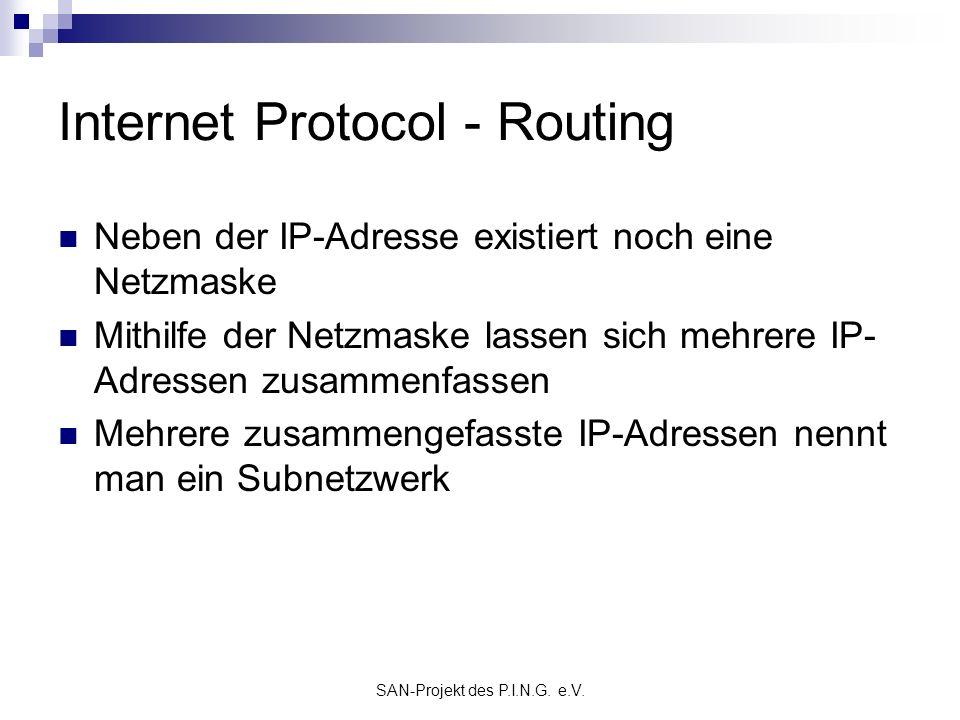 SAN-Projekt des P.I.N.G. e.V. Internet Protocol - Routing Neben der IP-Adresse existiert noch eine Netzmaske Mithilfe der Netzmaske lassen sich mehrer