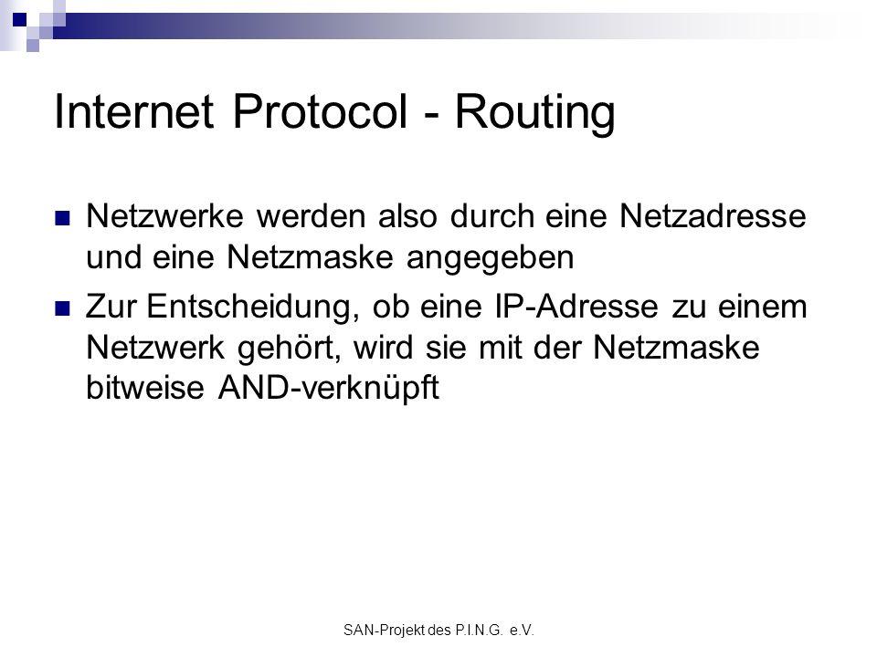 SAN-Projekt des P.I.N.G. e.V. Internet Protocol - Routing Netzwerke werden also durch eine Netzadresse und eine Netzmaske angegeben Zur Entscheidung,