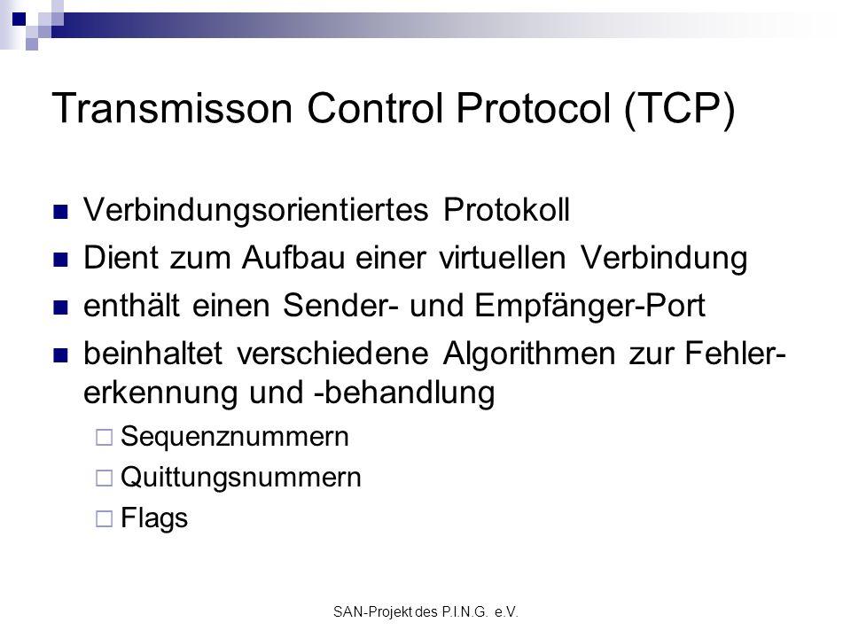 SAN-Projekt des P.I.N.G. e.V. Transmisson Control Protocol (TCP) Verbindungsorientiertes Protokoll Dient zum Aufbau einer virtuellen Verbindung enthäl