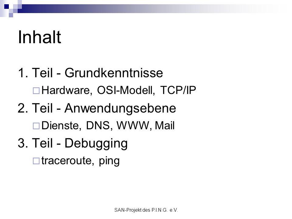 SAN-Projekt des P.I.N.G. e.V. Inhalt 1. Teil - Grundkenntnisse Hardware, OSI-Modell, TCP/IP 2. Teil - Anwendungsebene Dienste, DNS, WWW, Mail 3. Teil