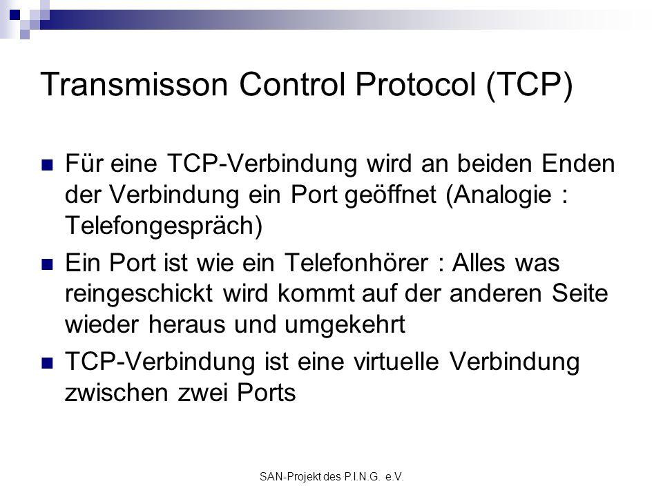 SAN-Projekt des P.I.N.G. e.V. Transmisson Control Protocol (TCP) Für eine TCP-Verbindung wird an beiden Enden der Verbindung ein Port geöffnet (Analog