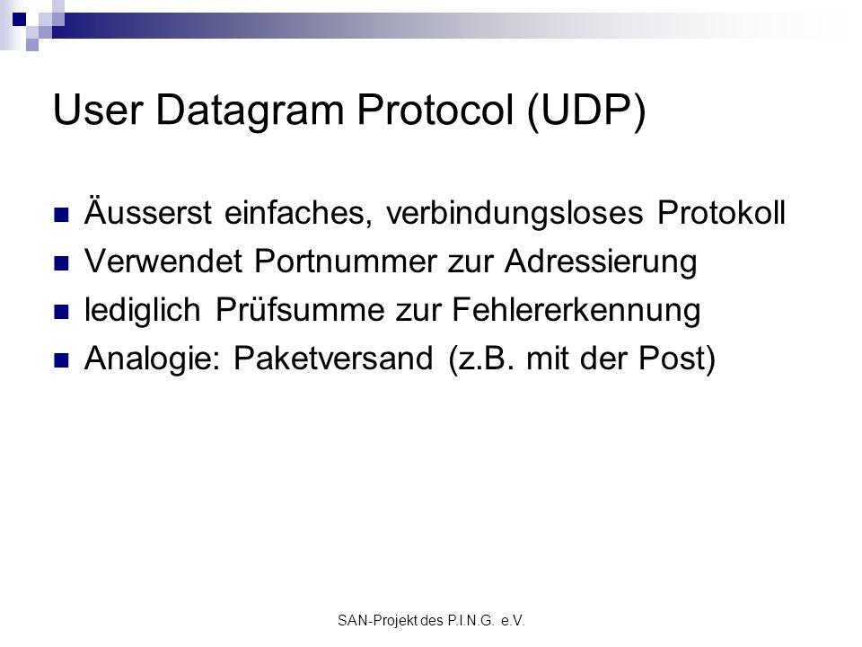 SAN-Projekt des P.I.N.G. e.V. User Datagram Protocol (UDP) Äusserst einfaches, verbindungsloses Protokoll Verwendet Portnummer zur Adressierung ledigl