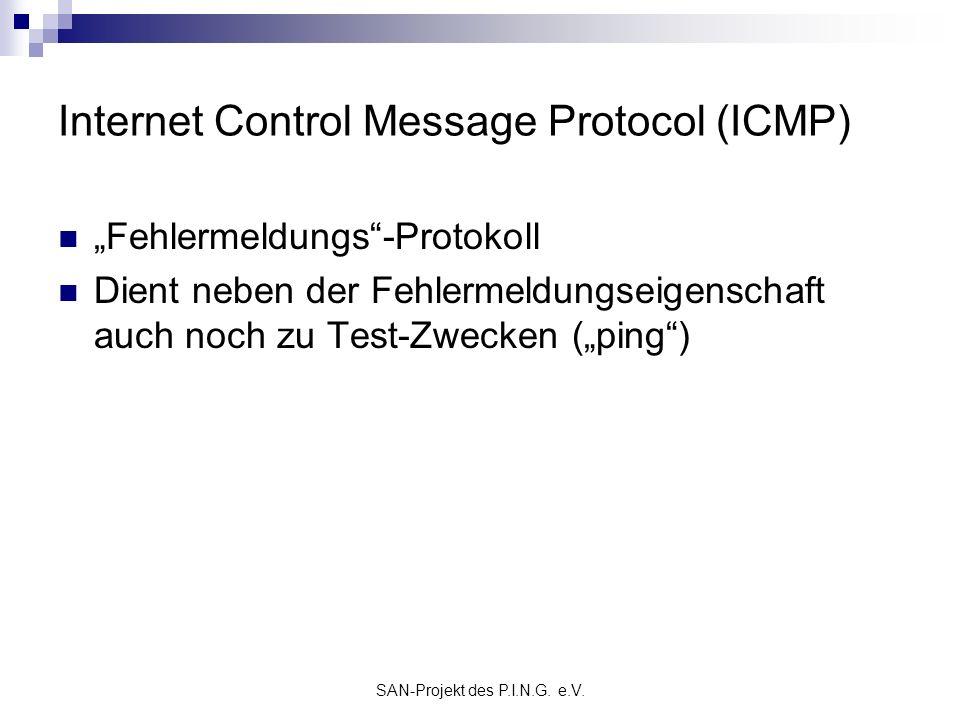 SAN-Projekt des P.I.N.G. e.V. Internet Control Message Protocol (ICMP) Fehlermeldungs-Protokoll Dient neben der Fehlermeldungseigenschaft auch noch zu