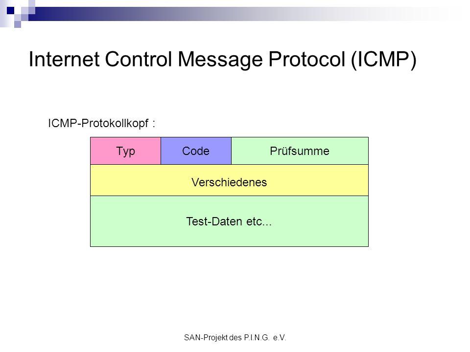SAN-Projekt des P.I.N.G. e.V. Internet Control Message Protocol (ICMP) Verschiedenes TypCodePrüfsumme ICMP-Protokollkopf : Test-Daten etc...