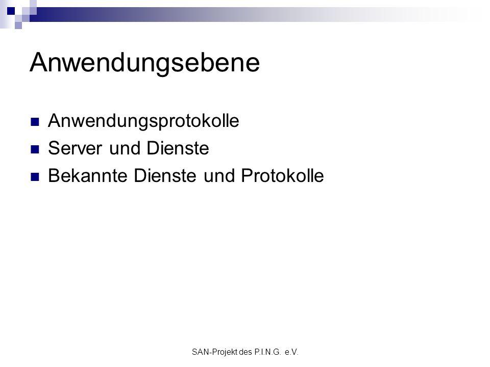 SAN-Projekt des P.I.N.G. e.V. Anwendungsebene Anwendungsprotokolle Server und Dienste Bekannte Dienste und Protokolle