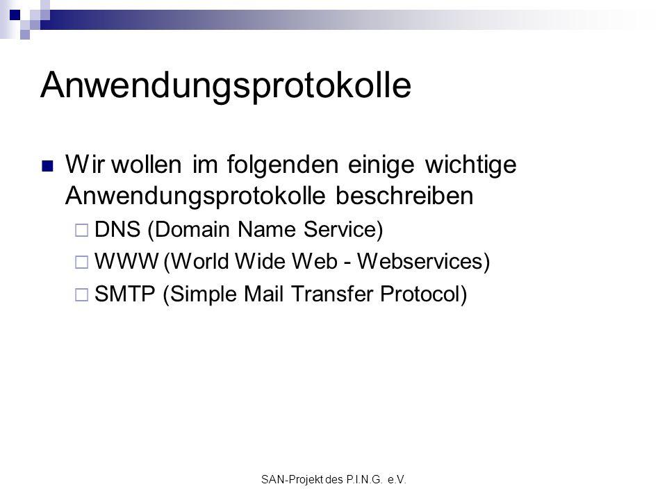 SAN-Projekt des P.I.N.G. e.V. Anwendungsprotokolle Wir wollen im folgenden einige wichtige Anwendungsprotokolle beschreiben DNS (Domain Name Service)