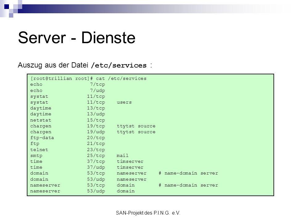SAN-Projekt des P.I.N.G. e.V. Server - Dienste [root@trillian root]# cat /etc/services echo 7/tcp echo 7/udp systat 11/tcp systat 11/tcp users daytime