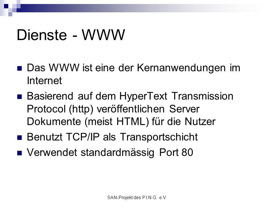 SAN-Projekt des P.I.N.G. e.V. Dienste - WWW Das WWW ist eine der Kernanwendungen im Internet Basierend auf dem HyperText Transmission Protocol (http)