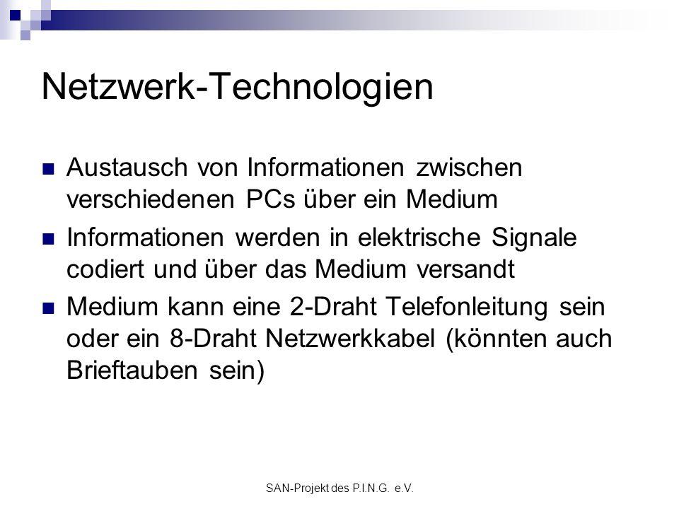 SAN-Projekt des P.I.N.G. e.V. Netzwerk-Technologien Austausch von Informationen zwischen verschiedenen PCs über ein Medium Informationen werden in ele