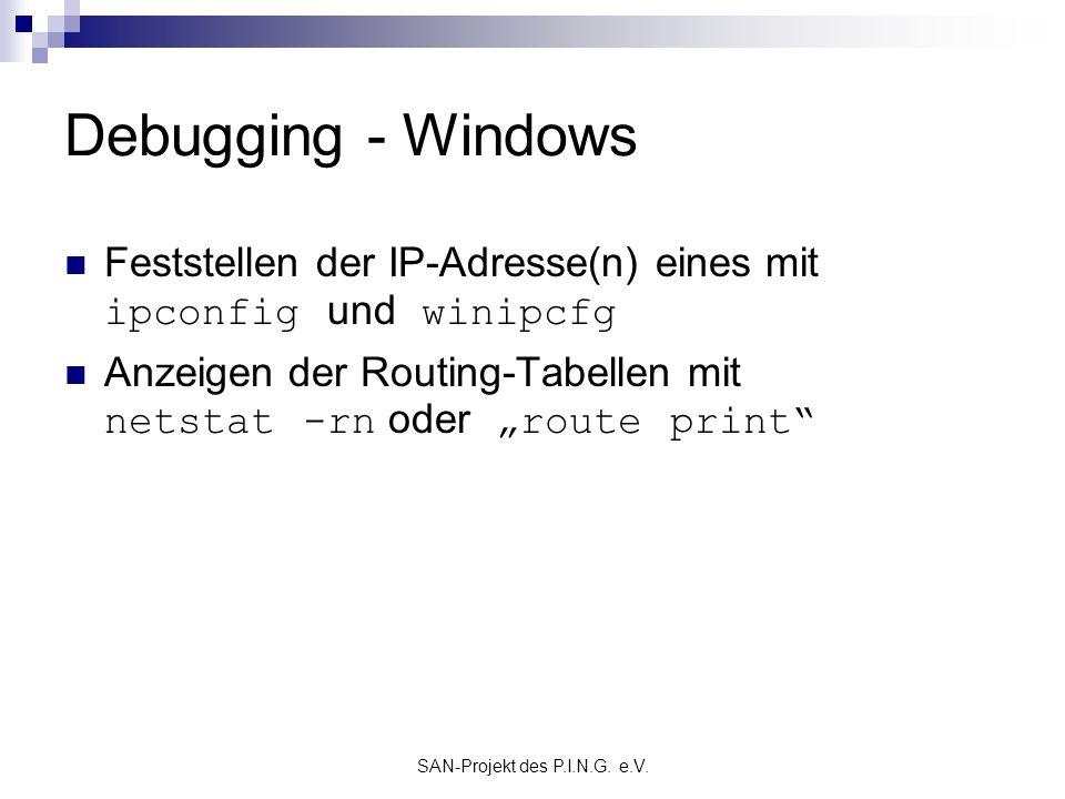 SAN-Projekt des P.I.N.G. e.V. Debugging - Windows Feststellen der IP-Adresse(n) eines mit ipconfig und winipcfg Anzeigen der Routing-Tabellen mit nets