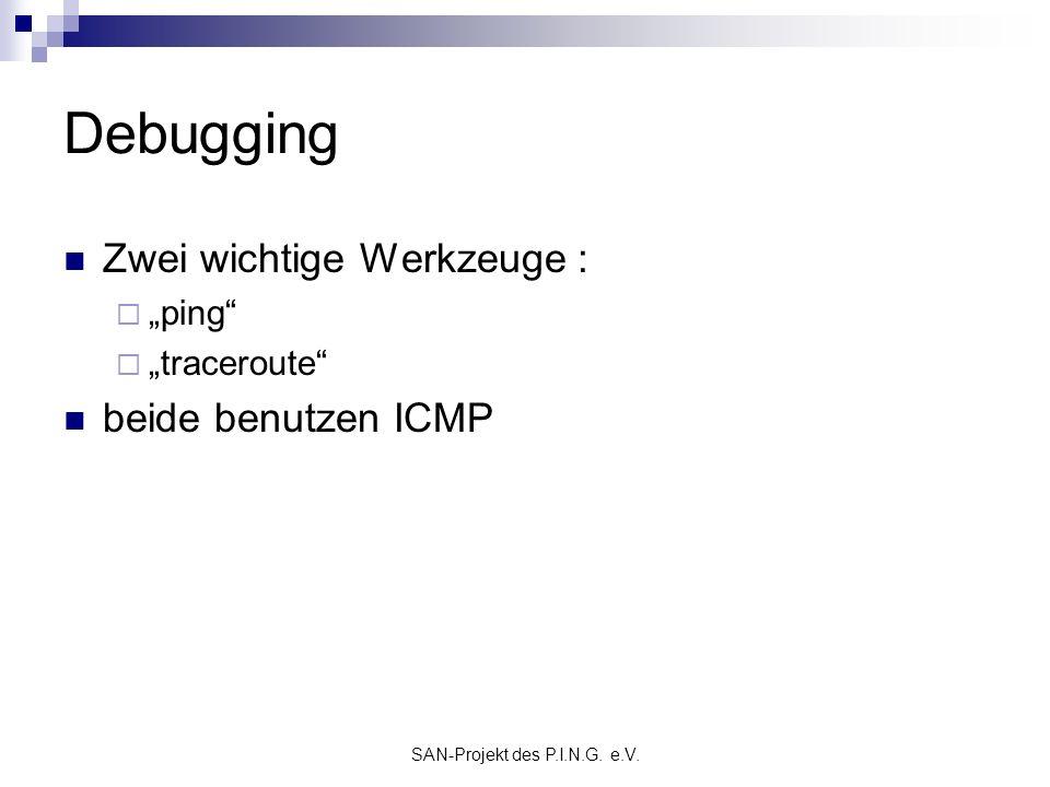 SAN-Projekt des P.I.N.G. e.V. Debugging Zwei wichtige Werkzeuge : ping traceroute beide benutzen ICMP