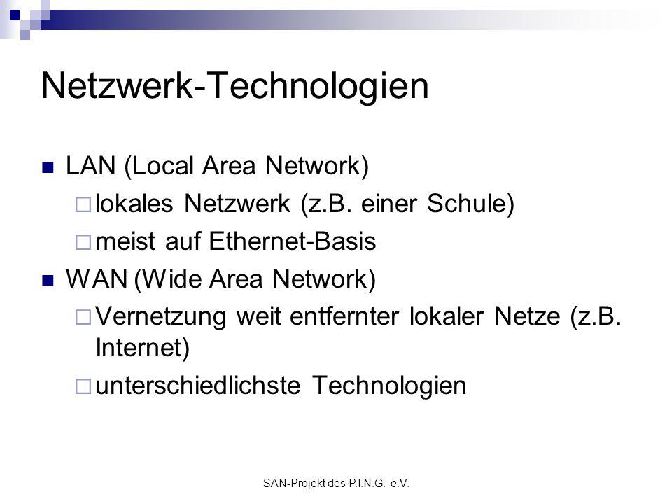 SAN-Projekt des P.I.N.G. e.V. Netzwerk-Technologien LAN (Local Area Network) lokales Netzwerk (z.B. einer Schule) meist auf Ethernet-Basis WAN (Wide A