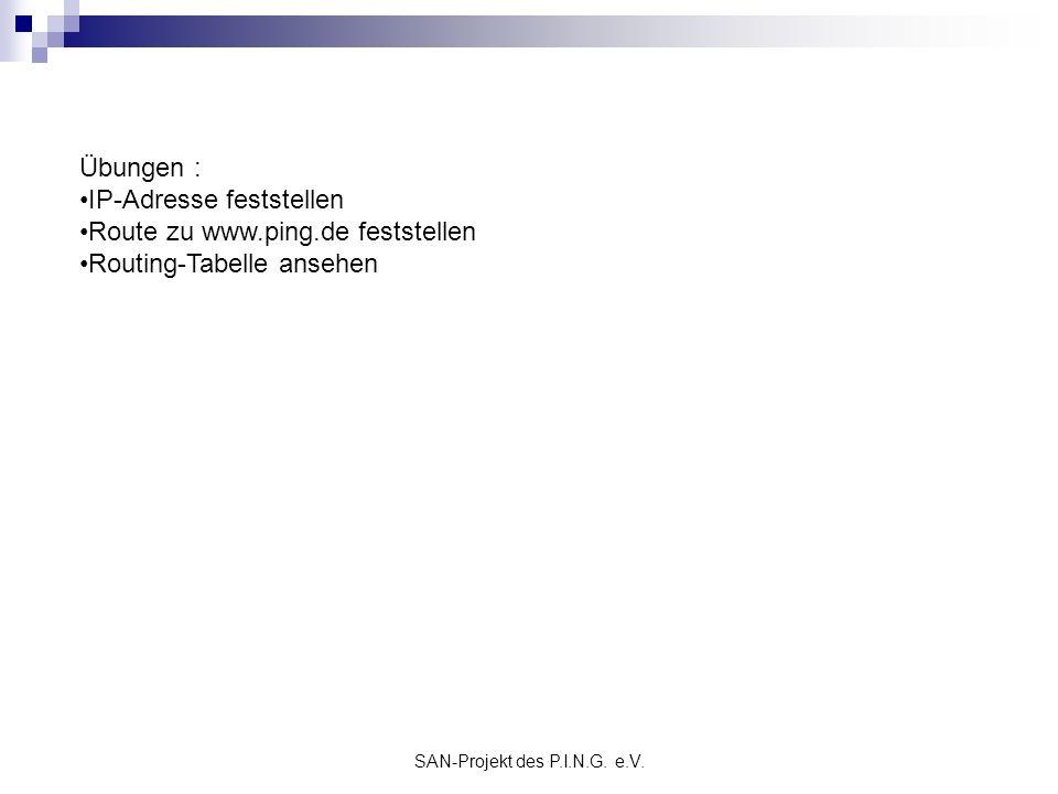 SAN-Projekt des P.I.N.G. e.V. Übungen : IP-Adresse feststellen Route zu www.ping.de feststellen Routing-Tabelle ansehen