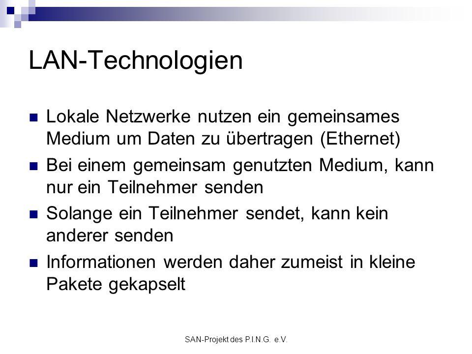 SAN-Projekt des P.I.N.G. e.V. LAN-Technologien Lokale Netzwerke nutzen ein gemeinsames Medium um Daten zu übertragen (Ethernet) Bei einem gemeinsam ge