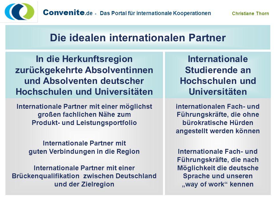 Convenite.de - Das Portal für internationale Kooperationen Christiane Thorn Ideal sind internationalen Fach- und Führungskräfte, die ohne bürokratisch