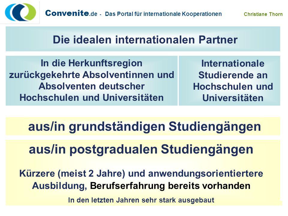 Convenite.de - Das Portal für internationale Kooperationen Christiane Thorn In die Herkunftsregion zurückgekehrte Absolventinnen und Absolventen deuts
