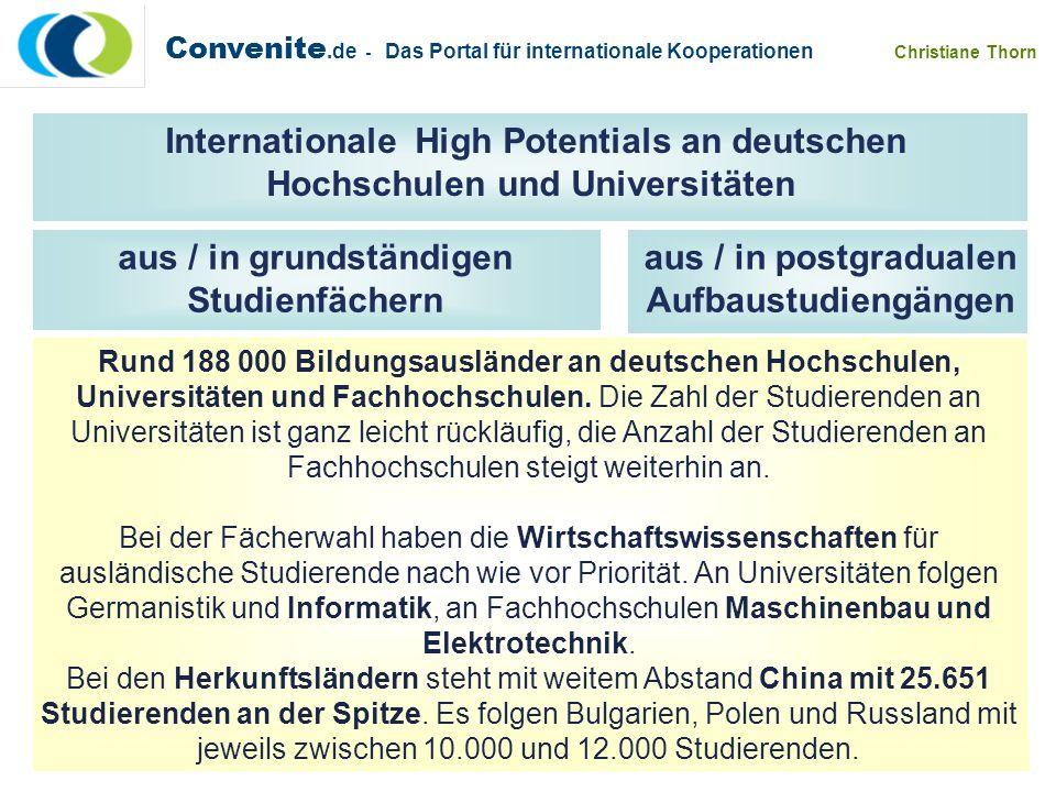 Rund 188 000 Bildungsausländer an deutschen Hochschulen, Universitäten und Fachhochschulen. Die Zahl der Studierenden an Universitäten ist ganz leicht