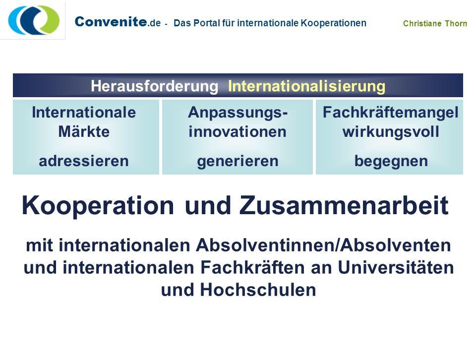 Convenite.de - Das Portal für internationale Kooperationen Christiane Thorn mit internationalen Absolventinnen/Absolventen und internationalen Fachkrä