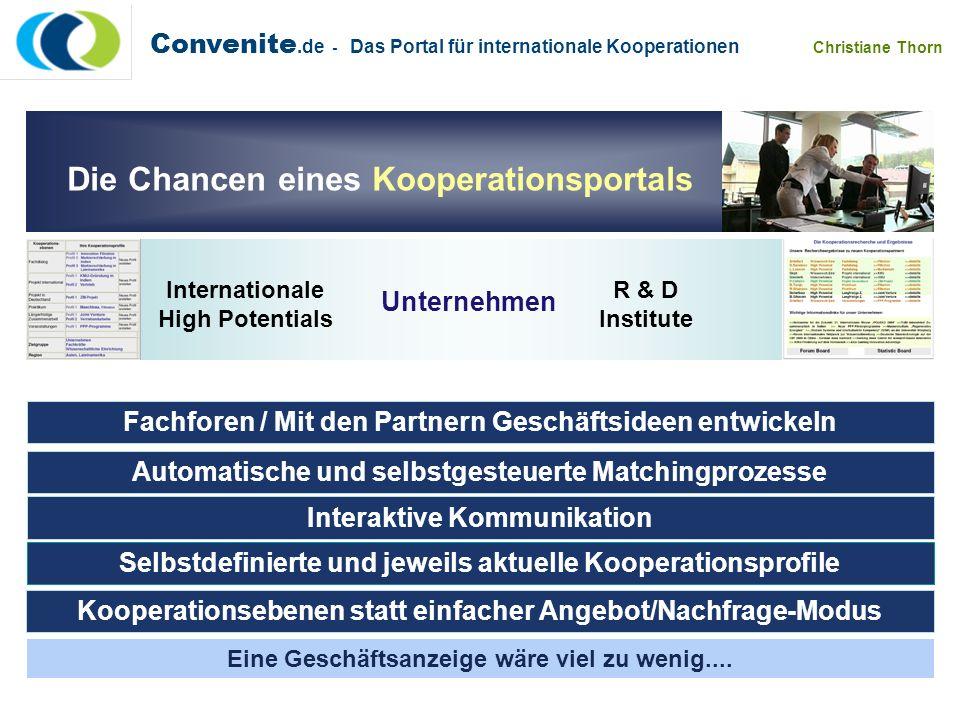 Convenite.de - Das Portal für internationale Kooperationen Christiane Thorn Die Chancen eines Kooperationsportals Eine Geschäftsanzeige wäre viel zu w