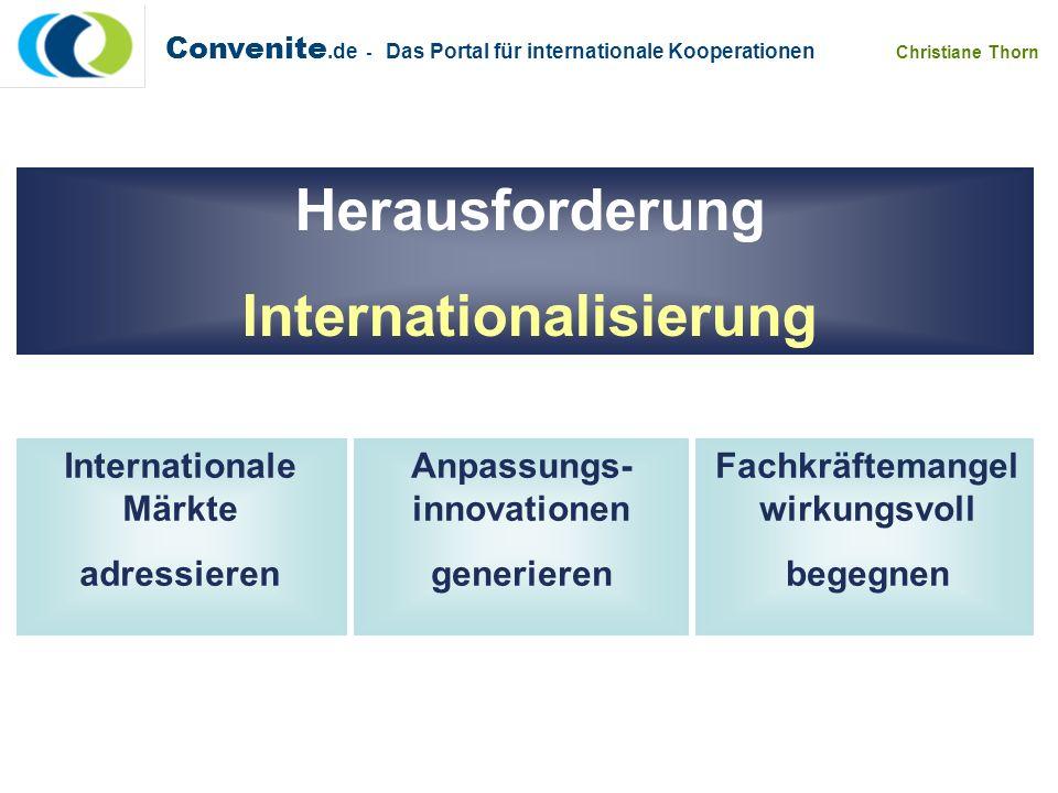 Convenite.de - Das Portal für internationale Kooperationen Christiane Thorn Internationale Märkte adressieren Geeignete Partner, die den Markt und die Voraussetzungen genau kennen Geeignete Partner, mit denen Sie in einer kostensparenden Strategie Märkte explorieren können Geeignete Partner, mit denen Sie vor Ort Ihre Vorhaben erfolgreich umsetzen können Ideal sind Partner mit einer möglichst großen fachlichen Nähe zum Produkt- und Leistungsportfolio Partner mit guten Verbindungen in die Region Partner mit einer Brückenqualifikation