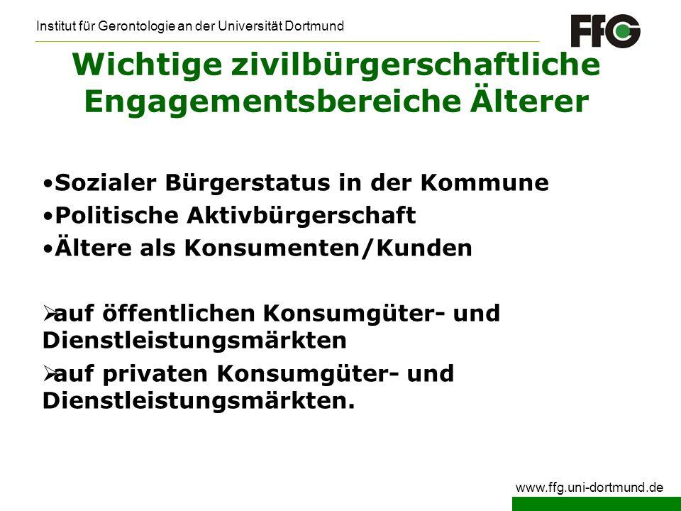 Institut für Gerontologie an der Universität Dortmund www.ffg.uni-dortmund.de Wichtige zivilbürgerschaftliche Engagementsbereiche Älterer Sozialer Bür