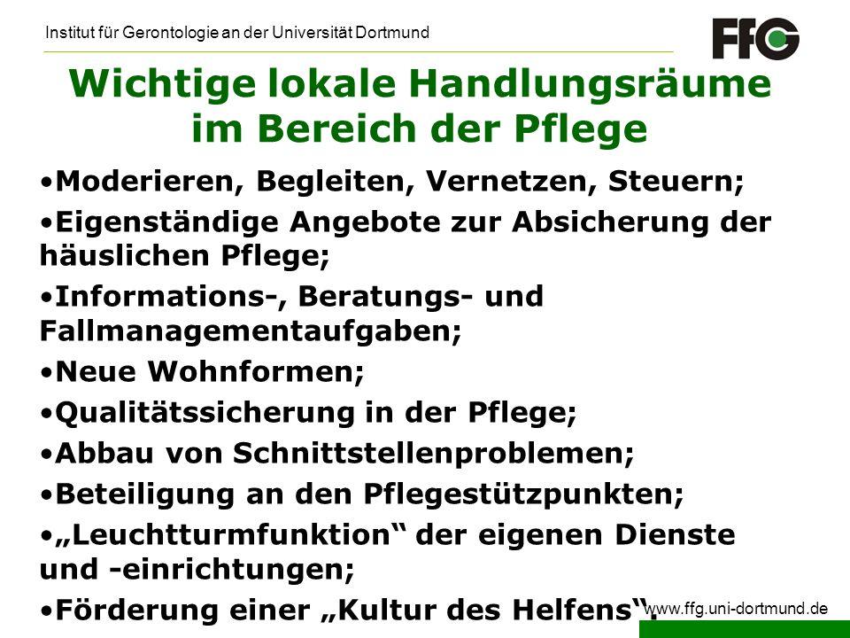 Institut für Gerontologie an der Universität Dortmund www.ffg.uni-dortmund.de Wichtige lokale Handlungsräume im Bereich der Pflege Moderieren, Begleit