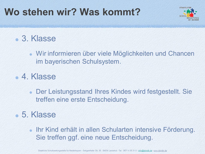 Wo stehen wir? Was kommt? 3. Klasse Wir informieren über viele Möglichkeiten und Chancen im bayerischen Schulsystem. 4. Klasse Der Leistungsstand Ihre