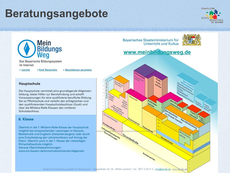 Beratungsangebote www.meinbildungsweg.de Staatliche Schulberatungsstelle für Niederbayern - Seligenthaler Str. 36 - 84034 Landshut - Tel.: 0871 4 30 3
