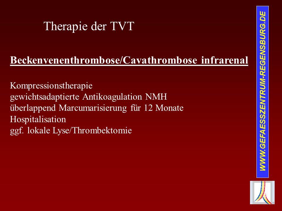 WWW.GEFAESSZENTRUM-REGENSBURG.DE Therapie der TVT Beckenvenenthrombose/Cavathrombose infrarenal Kompressionstherapie gewichtsadaptierte Antikoagulatio