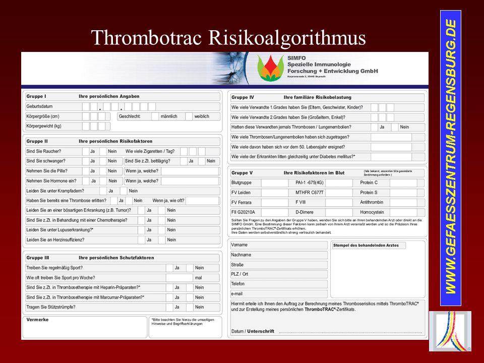 WWW.GEFAESSZENTRUM-REGENSBURG.DE Thrombotrac Risikoalgorithmus
