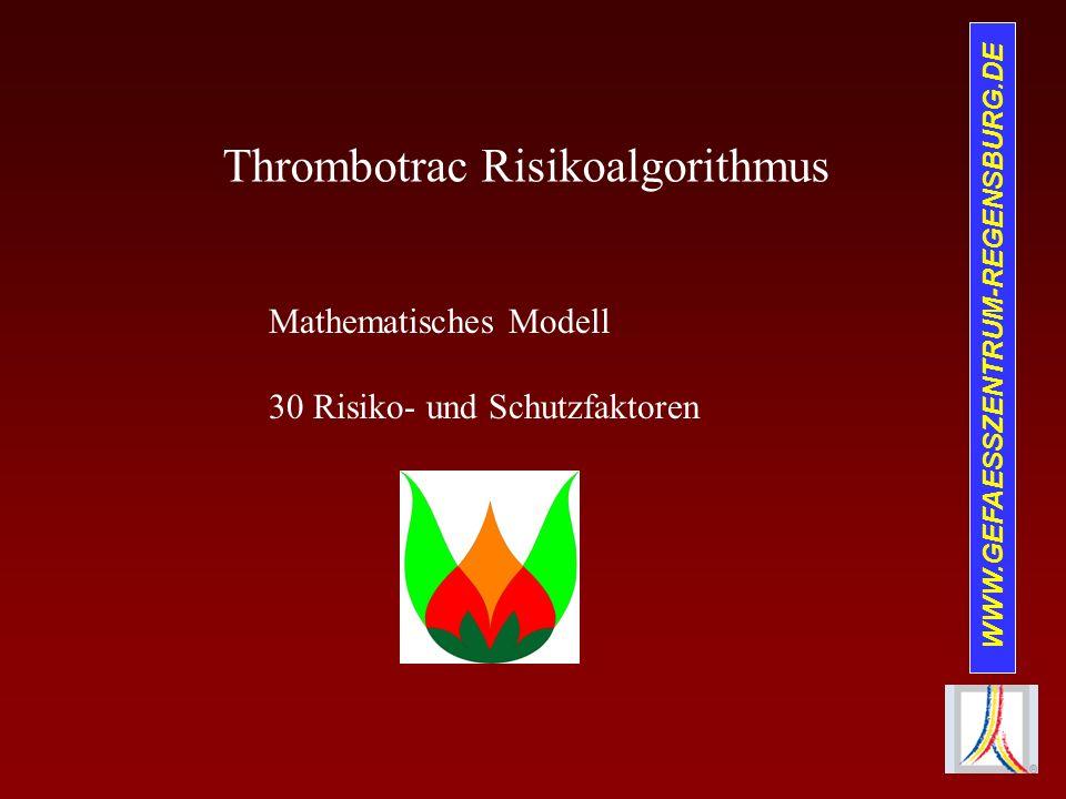 WWW.GEFAESSZENTRUM-REGENSBURG.DE Thrombotrac Risikoalgorithmus Mathematisches Modell 30 Risiko- und Schutzfaktoren